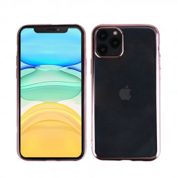 Plated Frame TPU Soft Skin Silicone Protective Case Back Cover for iPhone 11 Pro Max - Rose Gold