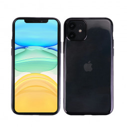 Fitted Silicone Shockproof Phone Case Soft TPU Plated Frame Back Cover for iPhone 11 - Black