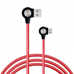 1m 90 Degree L Shape Micro USB Charging Cable Quick Charger Cable Fit for Most Android Phones - Red