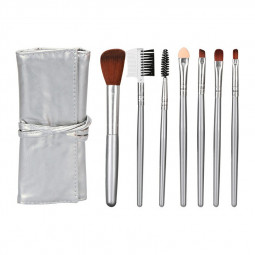 Beauty Makeup Brush Set 7 Pieces Blush Eye Shadow Eyebrow Brush Beginner Beauty Tool - Silver