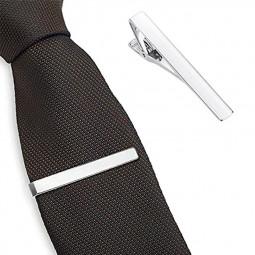 Skinny Tie Bar Clasp Tie Clip Tie Pin Gloss Stickpin Necktie Copper for Mens - Silver