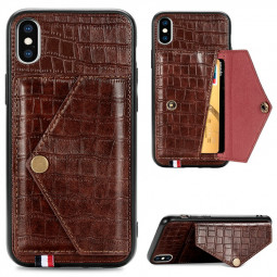 Crocodile Pattern Leather Back Case with Card Slot Stand Holder Shockproof Cover for iPhone XS Max - Brown