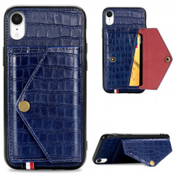 Leather Protective Phone Cover Crocodile Pattern Back Case with Stand Holder Card Slot for iPhone XR - Blue