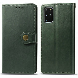 Magnetic PU Leather Wallet Flip Case Cover with Card Slot for Samsung Galaxy S20 Plus - Green