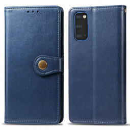 Magnetic Buckle Wallet Flip Case PU Leather Phone Covers with Card Slot for Samsung Galaxy S20 - Blue