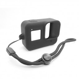 Silicone Anti-shock Protective Case Shockproof Cover with Wrist Strap for GoPro HERO 8 - Black
