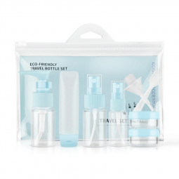 9 pcs Travel Bottles Set Refillable Cosmetic Containers Sprayer Bottle - Blue