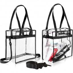 Transparent Clear Tote Bag Storage Plastic Bag Fashionable Bag - Black