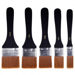 Set of 5 Harris Paint Brush Fine Nylon Brushes Wooden Handle