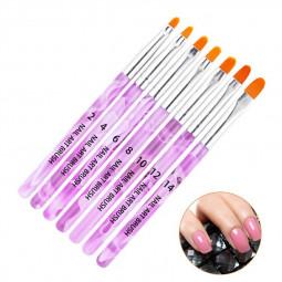 7 PCS UV Gel Nail Art Brush Acrylic Nail Art Tips Builder Brush