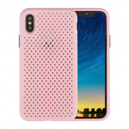Silicone Gel Rubber Cooling Mesh Cover Shockproof Cover Case for iPhone XS Max - Pink