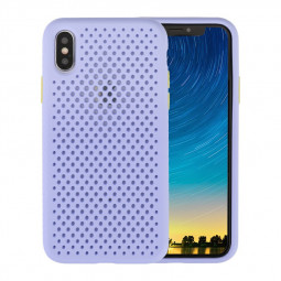Soft Silicone Protective Back Cover Cooling Mesh Case Shockproof Cover Case for iPhone X/XS - Purple