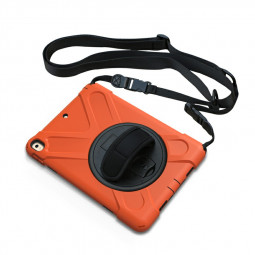 Heavy Duty Rugged PC Silicone Rotating Case for Apple iPad 10.5 - Orange