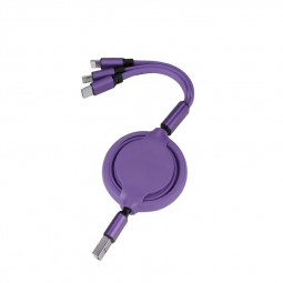 3 in 1 Soft TPE Type-c Micro USB 8 Pin iPhone USB Charging Cable - Purple