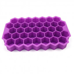 Honeycomb Ice Mold Cube Ice Tray 37 Cubes Shape With Lid Sillicone Maker - Purple