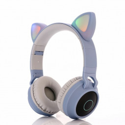 Wireless Cat Ear Bluetooth 5.0 Stereo Bass Headset LED Lights Earphone - Light Blue