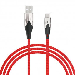 3m Type C USB 3.1 Charging Cable Braided Fabric Charger Line - Red