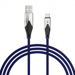 3m Braided Fabric Micro USB Android Charger Cable - Blue