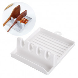 Kitchen Storage Rack Mat Stand Heat Resistant Holder Spoon Spatula Multi-functional Plastic Racks - White