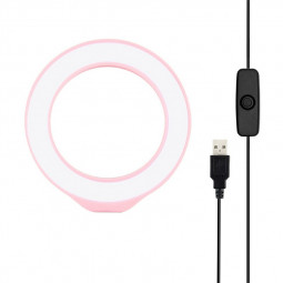 4.7 inch 12cm USB White Light LED Ring Vlogging Photography Video Lights - Pink