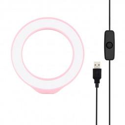 4.7 inch 12cm USB White Light LED Ring Vlogging Photography Video Lights - Pink