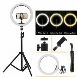 10 inch LED Dimmable Ring Light + Phone Tripod + Holder Stand with Remote Control for Live Video