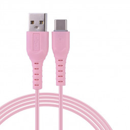 1M New Style Candy Colour Type C Charging Cable - Pink