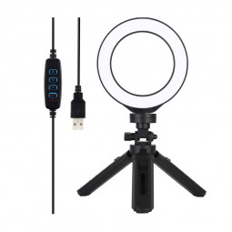 4.7 inch Dimmable LED Ring Lights + Telescopic 5-speed Adjustable Desktop Tripod with Tripod Ball Head