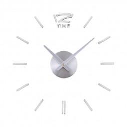 Stick On DIY Large Modern Acrylic Mirror Wall Clock Mute - Silver