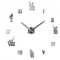 Stick On DIY Roman Numeral Acrylic Mirror Wall Clock - Silver