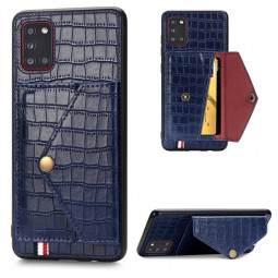 Crocodile pattern Leather Wallet Case Card Slot Shockproof Flip Cover for Samsung Galaxy A31 - Blue
