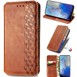 Magnetic PU Leather Wallet Case Cover for  Samsung Galaxy S20 Plus - Brown