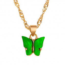 Multi-color Acrylic Butterfly Cute Animal Pendant Necklace - Green