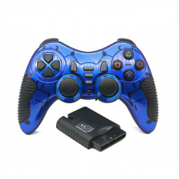 6 in1 Wireless Vibration Gaming USB Controller TV PS2 PS3 PC Race Action 2.4 GHz - Blue