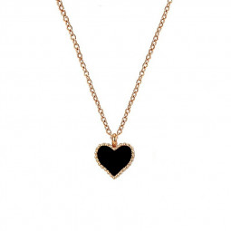 Fashion Hot New Girl Serena Red Heart with Love Pendant Necklace Chain - Black