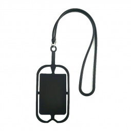 Universal Phones Silicone Lanyard Case Cover Holder Sling Necklace Wrist Strap - Black