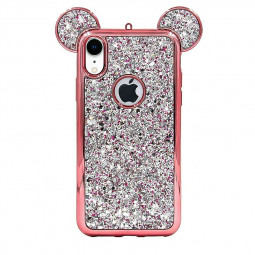 Bling Soft TPU Protective Cute Case with Mickey Ear for iPhone XR - Rose Gold