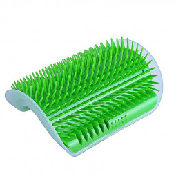 Pet Cat Dog Wall Corner Massage Self Groomer Rubber Comb Toy Brush Cleaner - Green