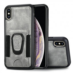 Shockproof Flip Phone Cover Leather Card Wallet Case with Card Slot for iPhone XS Max - Grey