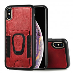 Shockproof Flip Phone Cover Leather Card Wallet Case with Card Slot for iPhone X/XS - Red
