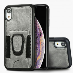 Shockproof Leather Card Wallet Case with Card Slot Stand Holder for iPhone XR - Grey