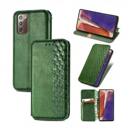 Leather Wallet Magnetic PU Case with Holder Stand Function for Samsung Galaxy Note 20 - Green