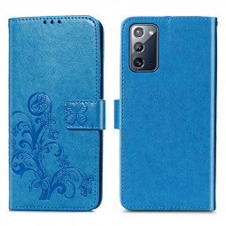 Flip Stand PU Leather Case Phone Cover for Samsung Galaxy Note 20 - Blue
