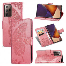 Butterfly Embosed Pattern PU Leather Case for Samsung Galaxy Note 20 Ultra - Pink