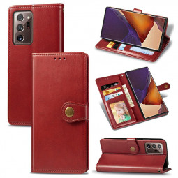 PU Leather Case Flip Stand Wallet Card Case for Samsung Galaxy Note 20 Ultra - Red