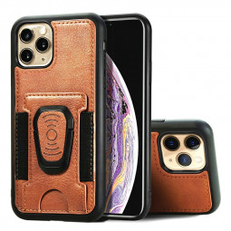 Shockproof Flip Phone Cover Leather Card Wallet Case with Card Slot for iPhone 11 Pro Max - Brown