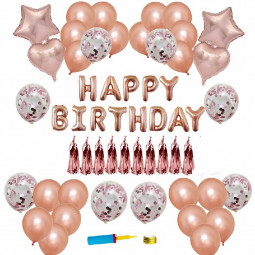 Rose Gold Happy Birthday Bunting Banner Balloons Tinsel Confetti Balloon Arch Kit Party Decor