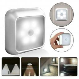 6 LED Motion Sensor Lights PIR Wireless Night Light Cabinet Closet Stair Lamp - White Light
