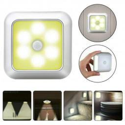 6 LED Motion Sensor Lights PIR Wireless Night Light Cabinet Closet Stair Lamp - Warm Light