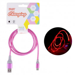 Flashing USB 3.1 Type C Cable Soft USB C Charger Cables 1m - Pink